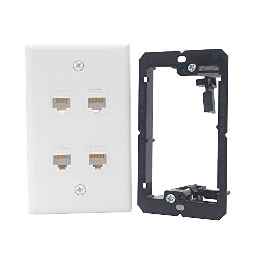 KCC Industries 4-Port Cat6 Ethernet Cable Wall Plate | Female-Female with Mounting Bracket +UL/CSA Listed Safe+ ()