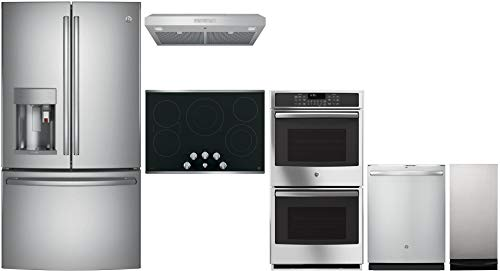 GE Profile 6 Piece Kitchen Package with Fridge, 30' Electric Cooktop, 30' Under Cabinet Hood, 27' Electric Double Wall Oven, 24' Built In Dishwasher and 15' Built In Compactor in Stainless Steel