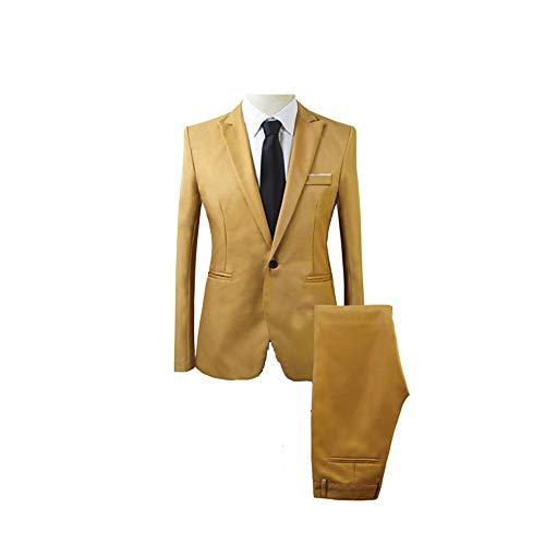Poche Kaki Fit Avec 2pcs Veste Bouton Couleur Taille Chic Ensemble En Cérémonie Slim Set Mariage Unie Costume Pantalon Uni Homme Grande B4qwnAg