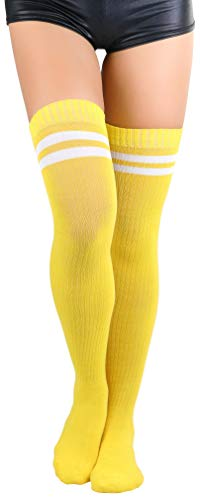 ToBeInStyle Women's Ribbed Athletic Thigh Highs - Yellow/White - OS]()