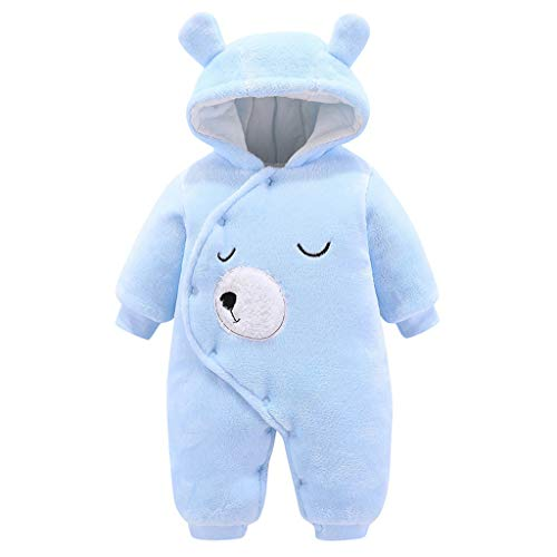 FILOL Infant Newborn Boy Girls Romper Cartoon Long Sleeve Warm Hooded Bodysuits Jumpsuit Hat Set Outfits Blue