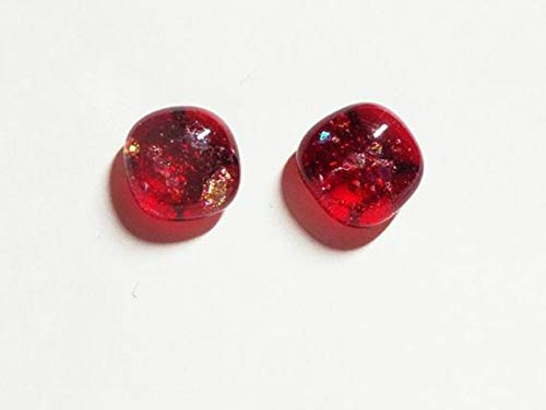 Ruby Red w Dichroic Handcrafted Fused Glass Post/Stud 11mm Square Rounded Earrings A73
