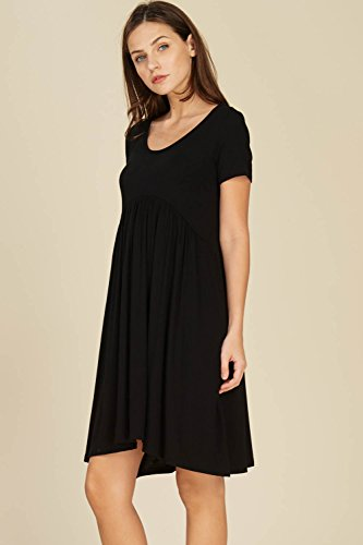 Annabelle Comfy Women's Black Mini Short Dresses Waist Pockets Sleeve with Scoop Neck Empire AqAHr