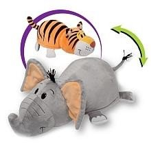 FlipaZoo Exclusive 8in Plush (Elephant to Tiger) by Jay at Play - Transforming 2-in-1 Animal Plush Figure (Flip A Zoo As Seen On Tv)