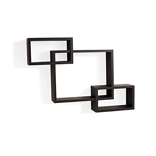 Anferstore Decorative 3 Cube Intersecting Boxes Wall Mounted Floating Shelves-Three Color (Black)