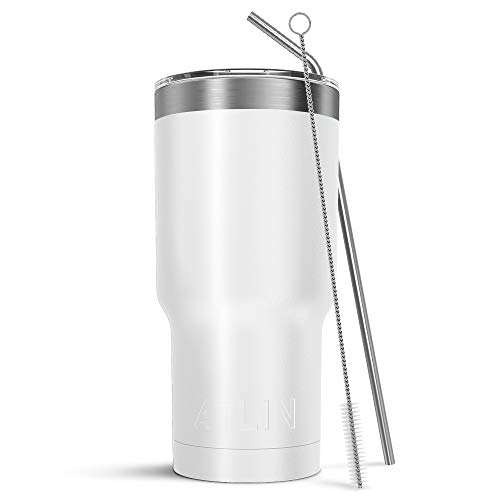 Atlin Tumbler [30 oz. Double Wall Stainless Steel Vacuum Insulation] Travel Mug [Crystal Clear Lid] Water Coffee Cup [Straw Included] (White) For Home,Office,School, Ice Drink, Hot Beverage