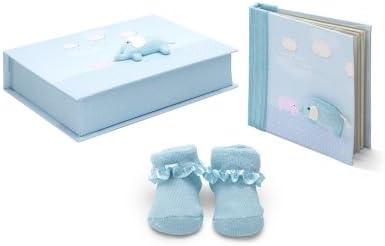 Set Regalo bebé Elefante de BebeDeParis en Azul- caja de recuerdos con álbum de fotos y patucos para el recién nacido - Talla 0-3 meses- producto artesanal: Amazon.es: Bebé