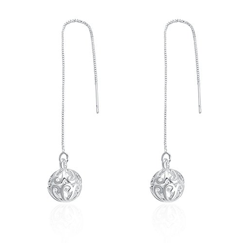 DazzlingShine 925 Silver Threader Drop Earrings Series (Hollow ball) ()