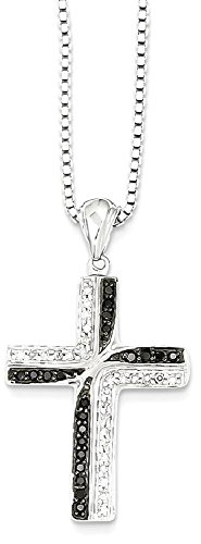 ICE CARATS 925 Sterling Silver Black White Diamond Cross Religious Pendant Charm Necklace Crucifix Fine Jewelry Gift Set For Women Heart