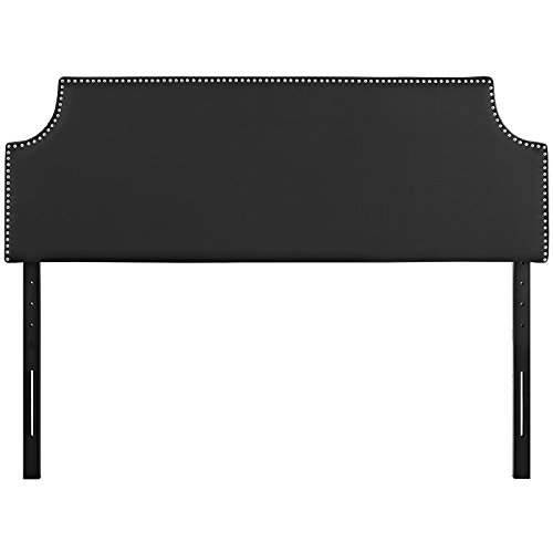 Modway Laura Upholstered Faux Leather King Headboard Size with Cut-Out Edges and Nailhead Trim, Black Vinyl (Leather Headboard Nailhead)