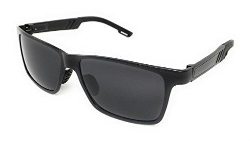 Aluminum Alloy Frame - iSportz - Polarized Rectangle Mens Sport Sunglasses Strong Aluminum Alloy Frame Ultra Light (Black, Smoke)
