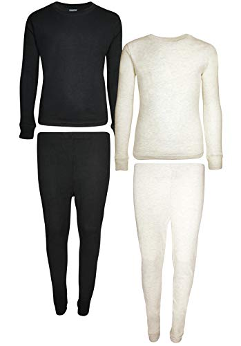 - Only Boys 2-Pack Thermal Warm Underwear Top and Pant Set, Black/Oatmeal Heather, 12/14'