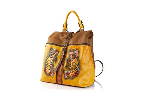 - Elenco Women's Leather Lisbon Embroidered Top Handle Backpack Yellow Multi
