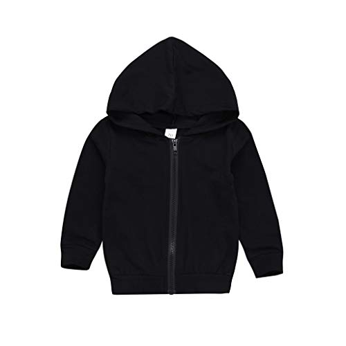 Kid Baby T-shirt Clothes, Toddler Boys Girls Long Sleeve Zipper Letter Hooded Sweatshirt Tops Outfit Set (age: 2-3 Years, Black)