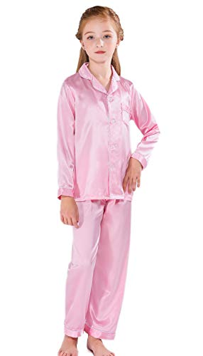 Horcute Pajamas Little Kid Sleepwears Set Pjs Clothes Long Sleeve Rosegold 160# 9-10Y