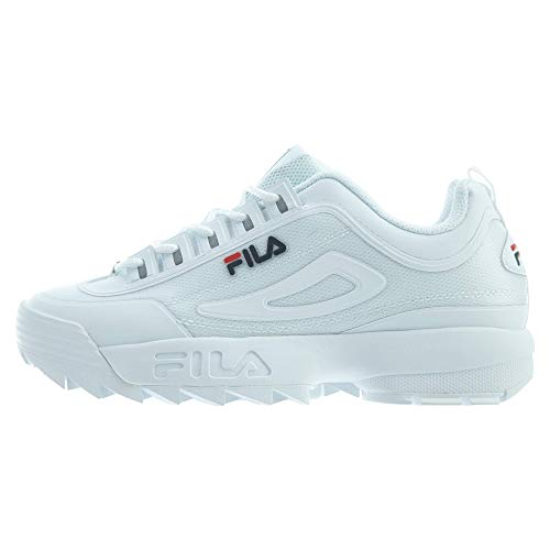 - FILA Men's Disruptor II Premium Sneaker (7.5, White/Fila Navy/Red)