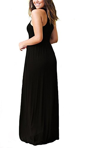GRECERELLE Women's Round Neck Sleeveless A-line Casual Maxi Dresses with Pockets Black-M by GRECERELLE (Image #2)