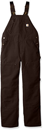 Carhartt Women's Size Weathered Duck Unlined Wildwood Bib Overalls, Dark Brown, XS Tall Brown Duck Unlined Bib