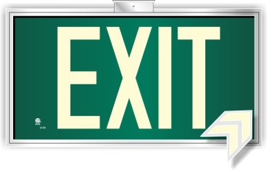 (Photoluminescent Exit Sign Green Framed Flag/Ceiling Mount (Removable Arrows) Code Approved UL 924- IBC-NFPA)