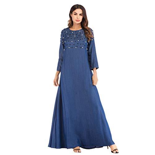 Women Muslim Dress Dubai Kaftan Women Long Sleeve Arabic Long Dress Embroidery Loose Plus Size Arab Islam Maxi Dress CapsA Blue