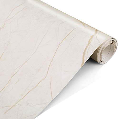 Marble Contact Paper Gold 17.5 x 78.7- Peel and Stick Self Adhesive Contact Paper Film for Countertops, Decorative Wallpaper for Home and Office, Removable, Waterproof, Stain-Resistant, Matte