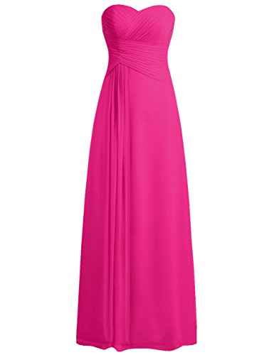 (Bridesmaid Dress Prom Dresses Long Sweetheart Chiffon Evening Gown Pleat Strapless Fuchsia M)
