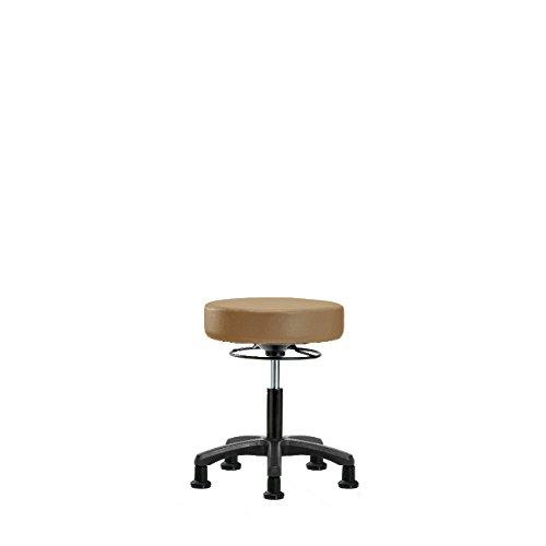 Vinyl Desk Height Mini Stool - Nylon Base, Glides, Taupe Vinyl