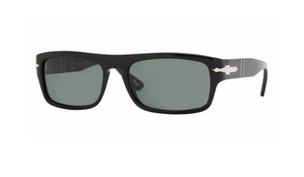 fa62685038 Amazon.com  Persol 2912 Shiny Black Frame Grey Lens Plastic Sunglasses