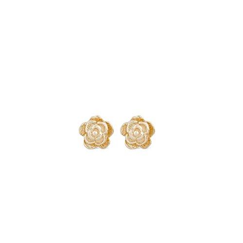 Clous d'oreilles Mini Camélias en or jaune 18 carats