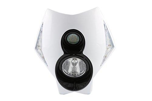 New Design X2 Headlight Head Lights with Turning Lights Enduro Super Motard Dirt Bike Street Fighter White Rubber Cylinder Head Mount