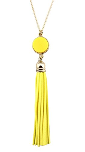 Styles I Love Womens Girls Colorful Resin Alloy Leather Tassel Pendant Statement Necklace (Gold Yellow) ()