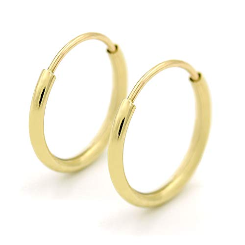 14K Gold Endless Hoop Earrings, Size 10mm - 20mm and 3-Pair Sets, Small Yellow 1mm Thin for Women and Men Ear Nose Cartilage Helix Tragus Lip, Giorgio Bergamo ()