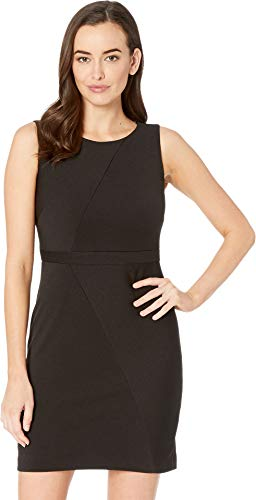 Adrianna Papell Women's Daphne Ottoman Sleeveless Sheath Dress with Jewel Neckline and Mitered Seam Details. Black 14