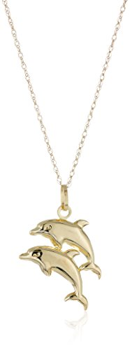 (14k Yellow Gold Double Dolphin Pendant Necklace,)