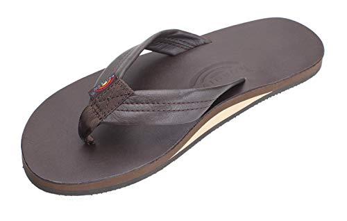 Rainbow Sandals Men's Premier Leather Single Layer Wide Strap with Arch, Mocha, Men's Medium / 8.5-9.5 D(M) US