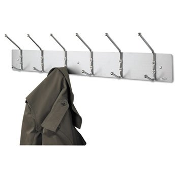 Safco Products Metal Wall Rack, Six Ball-Tipped Double-Hooks, 36w X 3-3/4d X 7h, Chrome