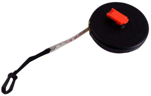 33' White Measuring Tape With Red Markings, Made Of Fiberglass, SAE & Metric Measurments