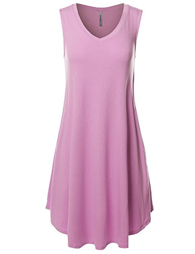 Band Dress Hem (Solid V-Neck Sleeveless Round Hem Dress With Side Pocket Dark Mauve Size XL)