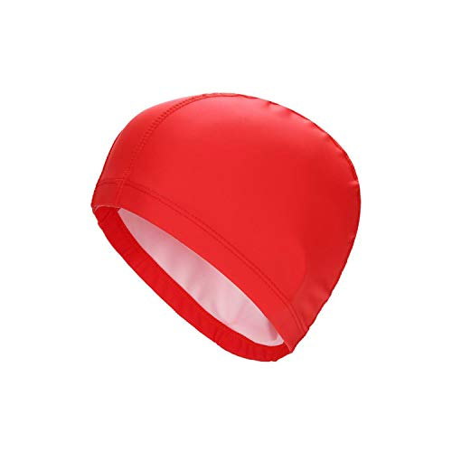 Sunny-Aha Elastic Waterproof PU Fabric Protect Ears Long Hair Sports Swim Pool Hat Swimming Cap,Red,One ()