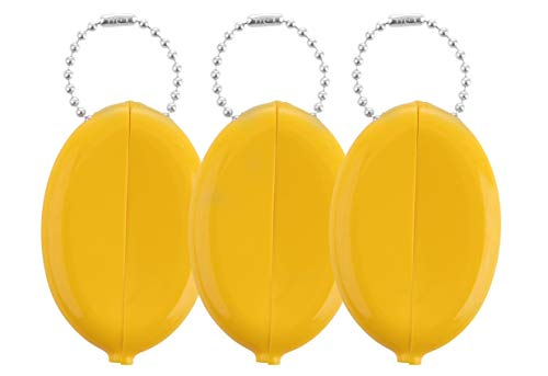 Oval Rubber Coin Purse Change Holder With Chain By Nabob (Dark Yellow 3 Pack)