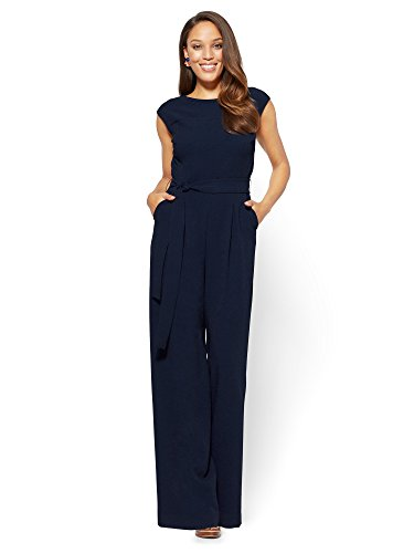 Belted Suit (New York & Co. Women's Belted Jumpsuit 6 Grand Sapphire)