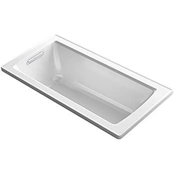 "KOHLER K-1946-0 Drop-In Bath with Reversible Drain, 60"" x 30"", White"