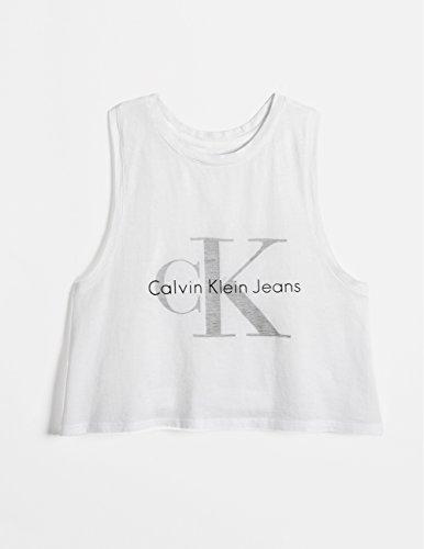 Calvin Klein Jeans Women's Reverse Print Tank, White Wash, SMALL