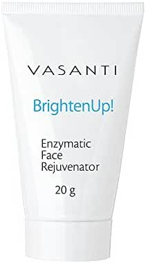 Vasanti Brighten Up! Enzymatic Face Rejuvenator – Brightens, Exfoliates & Cleanses for Soft, Smooth & Radiant Skin – Enriched with Papaya, Professional Microcrystals & Aloe (Travel Size Mini)