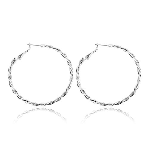 Lightweight Geometric Statement Hoop Earrings - Classic Thin Wire Delicate Curved Threader Dangles Round/Pear/Horseshoe/Wood Oval (Twisted Rope - Silver Medium) ()