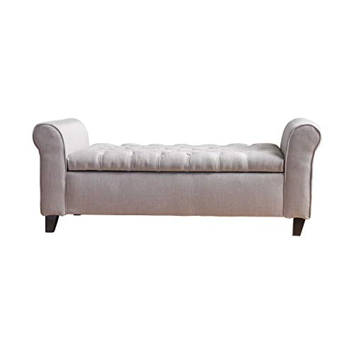 Christopher Knight Home 299379 Living Lamara Light Grey Fabric Armed Storage Bench, 19.50