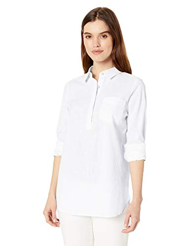 (Amazon Brand - Daily Ritual Women's Broken-in Cotton Popover Tunic Shirt, White, X-Large)