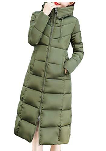security Women Winter Down Jacket Hoodie Zip Puffer Thicken Warm Overcoat Green