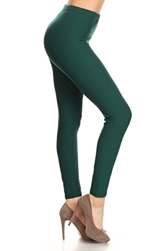 Leggings Depot Ultra Soft Basic Solid Plain Best Seller Leggings Pants, Plus Size (Size 12-24), Forest Green