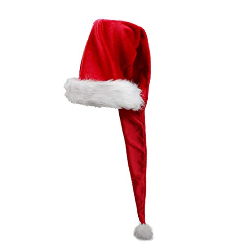 iMucci Adult Women Long Santa Claus Hat - 5 Feet Christmas Hats Holiday Party Decoration 150cm Red Hats]()